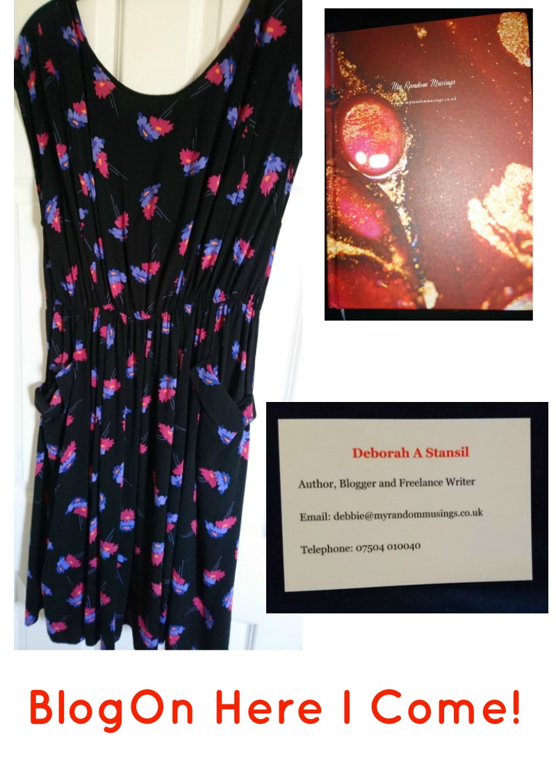 """Black dress with little blue and pink flowers, red notebook, my business card above """"BlogOn Here I Come"""" in red text"""