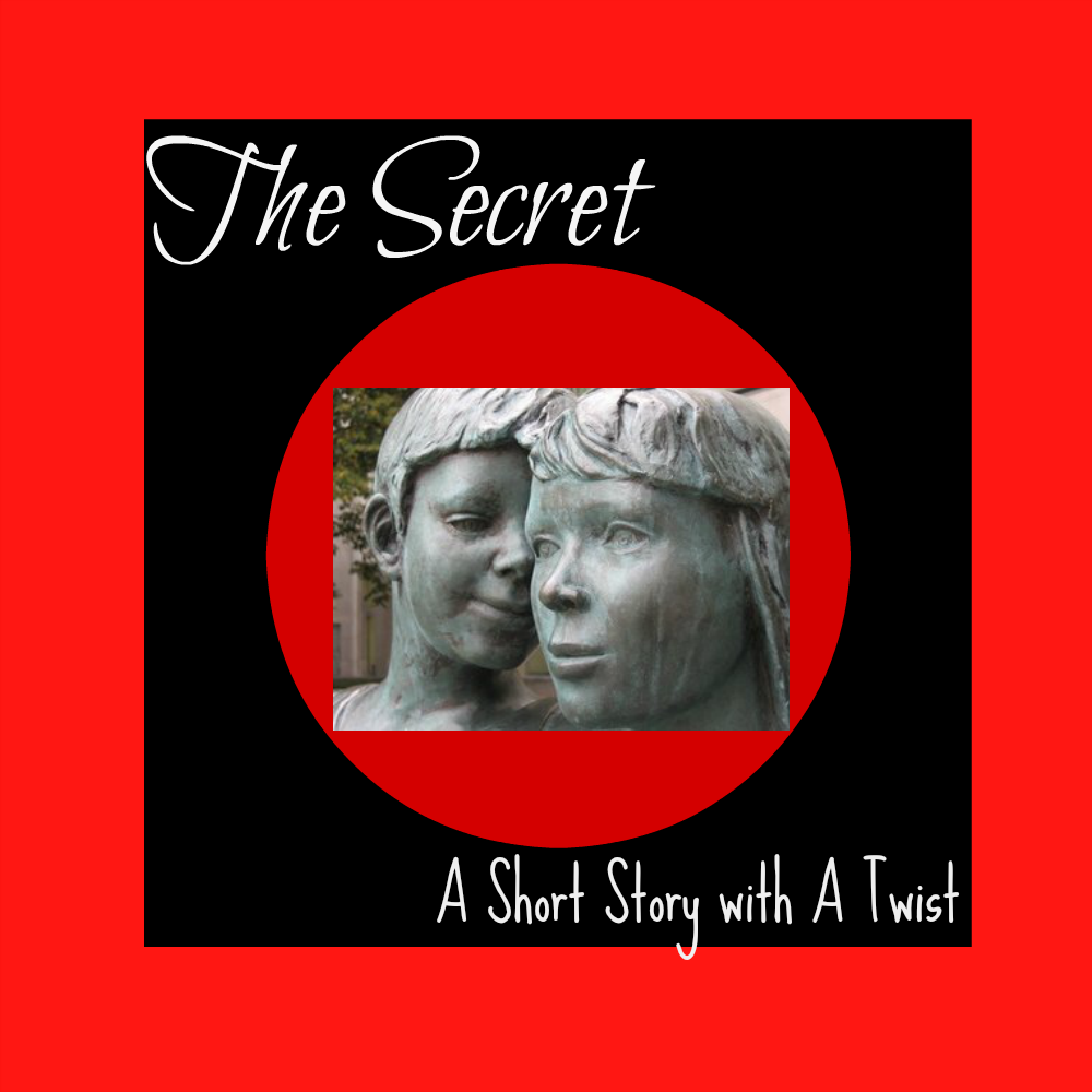 The secret: a short story with a twist in white writing on a blackground with a red edge. The centre features a red circle with an overlay of two stone figures whispering to each other