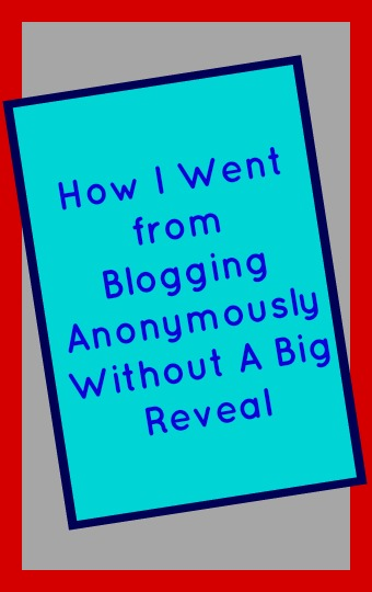 How I Went from Blogging Anonymously Without A Big Reveal text on a turquoise rectangle