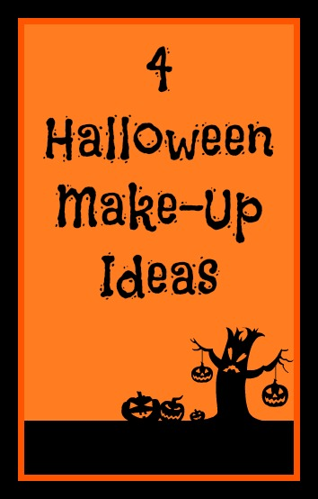 4 Halloween Make-Up Ideas in black text on an orange background with spooky black effects