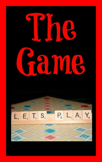 The Game - A Short Story in red text on a black background with let's play beneath it written in Scrabble tiles