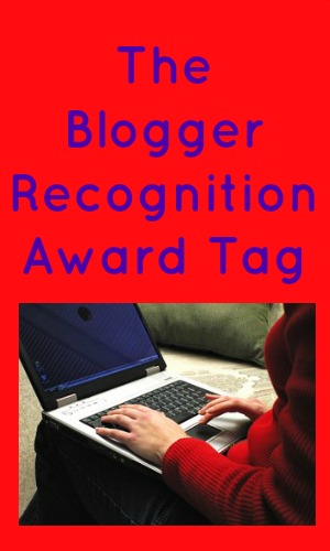 The Blogger Recognition Award Tag in blue text on a red background with a person typing on a laptop
